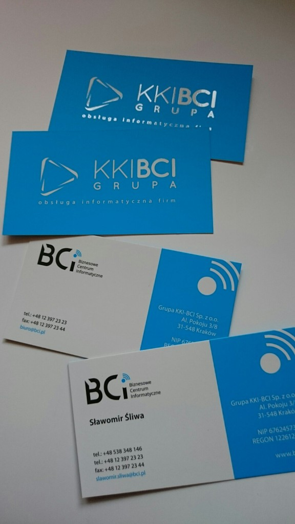 Wizytówki na Kredzie 350g z folią matową i lakierem wybiórczym UV dla KKI-BCI www.okiart.pl projketowanie wizytowki 17