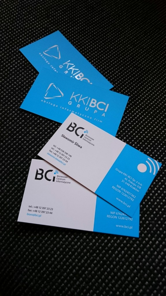 Wizytówki na Kredzie 350g z folią matową i lakierem wybiórczym UV dla KKI-BCI www.okiart.pl projketowanie wizytowki 19