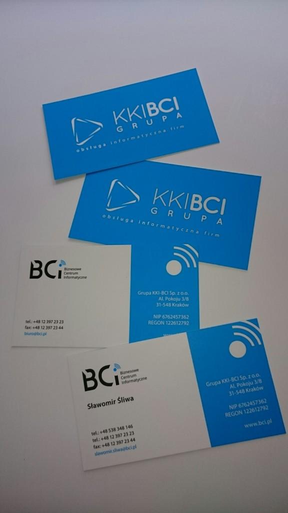 Wizytówki na Kredzie 350g z folią matową i lakierem wybiórczym UV dla KKI-BCI www.okiart.pl projketowanie wizytowki 2