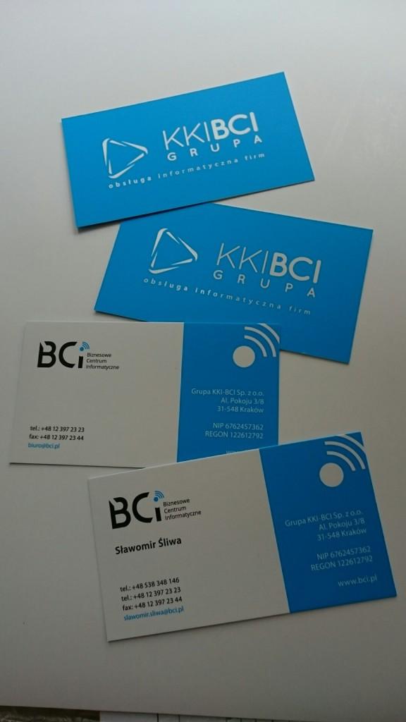 Wizytówki na Kredzie 350g z folią matową i lakierem wybiórczym UV dla KKI-BCI www.okiart.pl projketowanie wizytowki 3