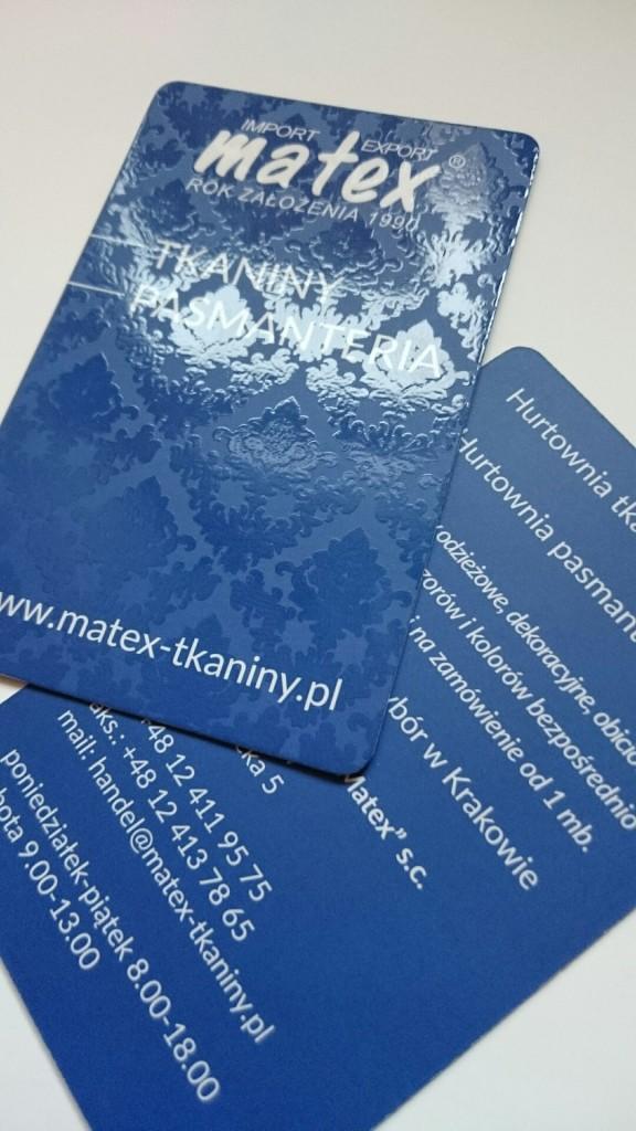 Wizytówki na Kredzie 350g z folią matową i lakierem wybiórczym UV dla MATEX