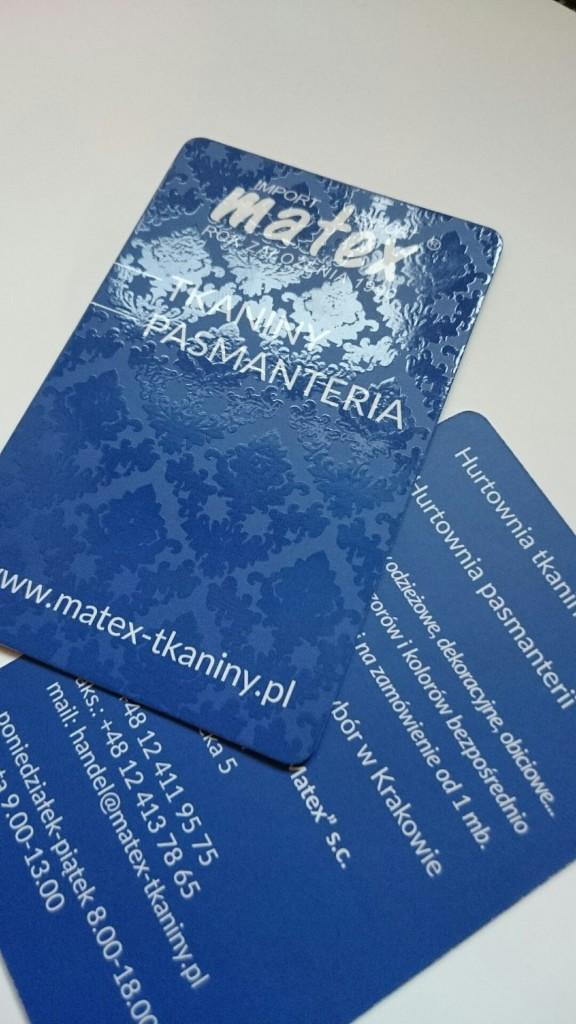 Wizytówki na Kredzie 350g z folią matową i lakierem wybiórczym UV dla MATEX www.okiart.pl