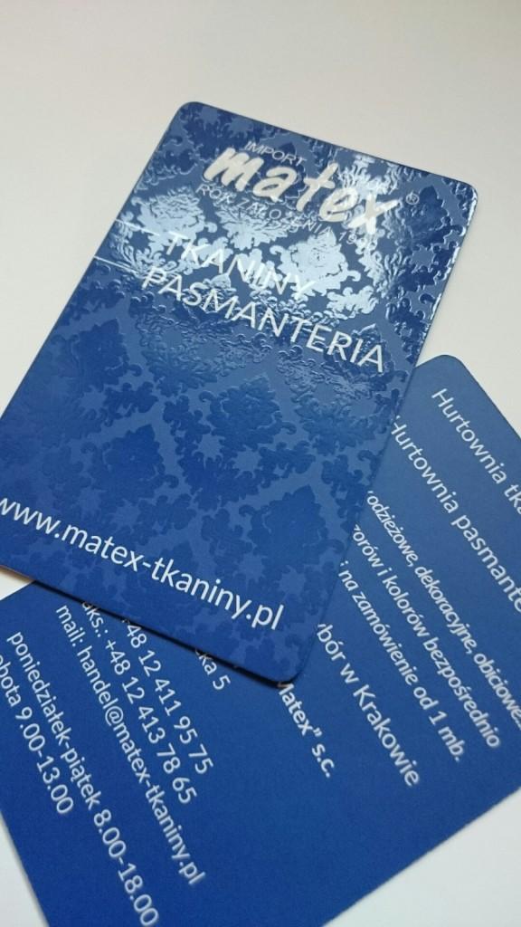 Wizytówki na Kredzie 350g z folią matową i lakierem wybiórczym UV dla MATEX www.okiart.pl 1