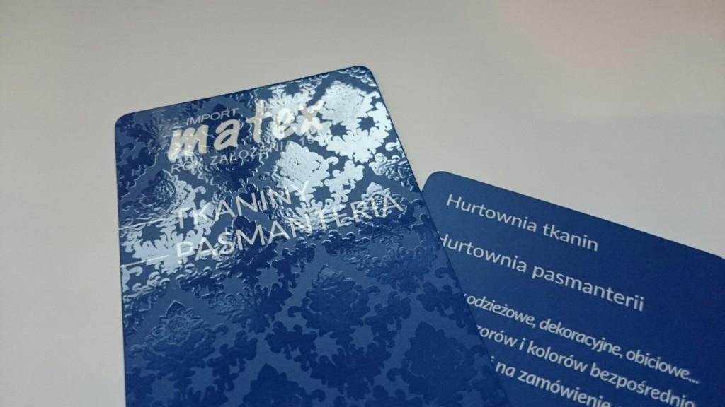 Wizytówki na Kredzie 350g z folią matową i lakierem wybiórczym UV dla MATEX www.okiart.pl 2