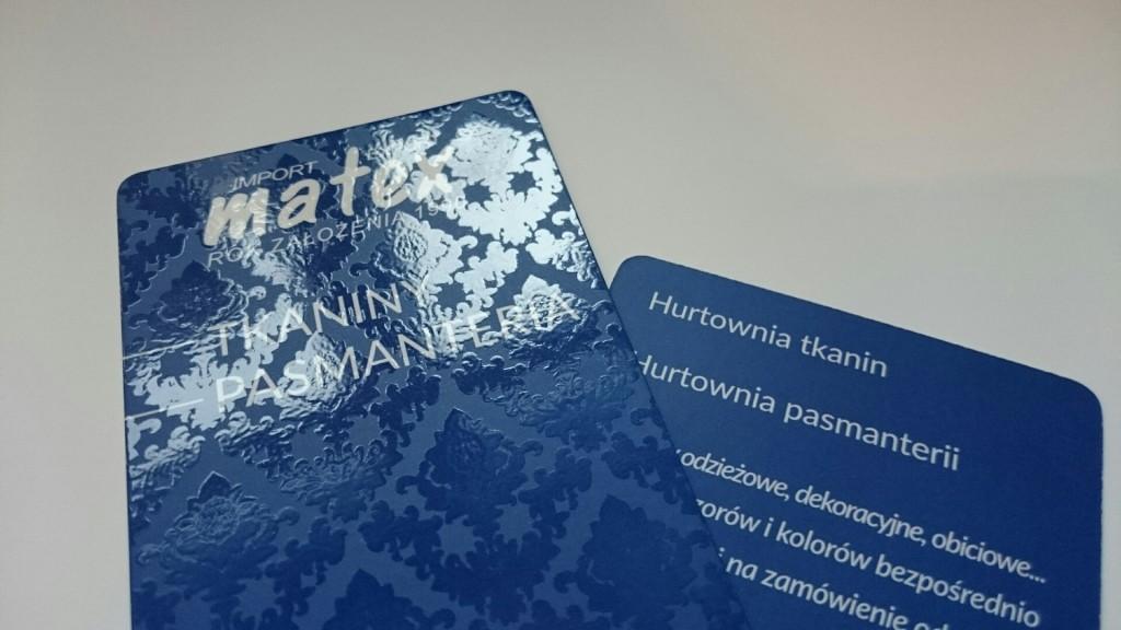 Wizytówki na Kredzie 350g z folią matową i lakierem wybiórczym UV dla MATEX www.okiart.pl 3