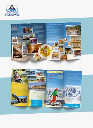 Projekt ulotki składanej  420:100 do 210:100 dla Czorsztyn-Ski w Kluszkowcach